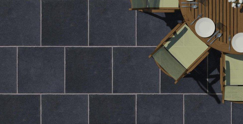 Black Limestone Paving; 600 x 600 x 20 -30mm