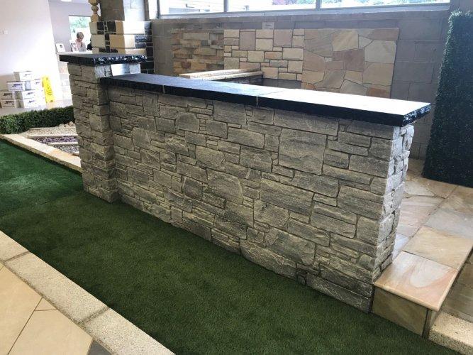 Black Limestone Pillar Cap - Rockfaced Edges