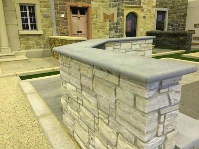 Blue Limestone Wall Capping - Bullnose Edge