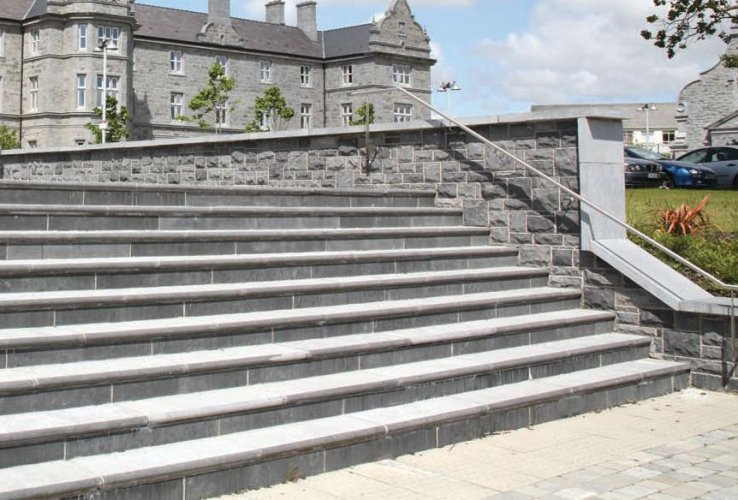 Blue Limestone Steps, Wall Capping and Walling