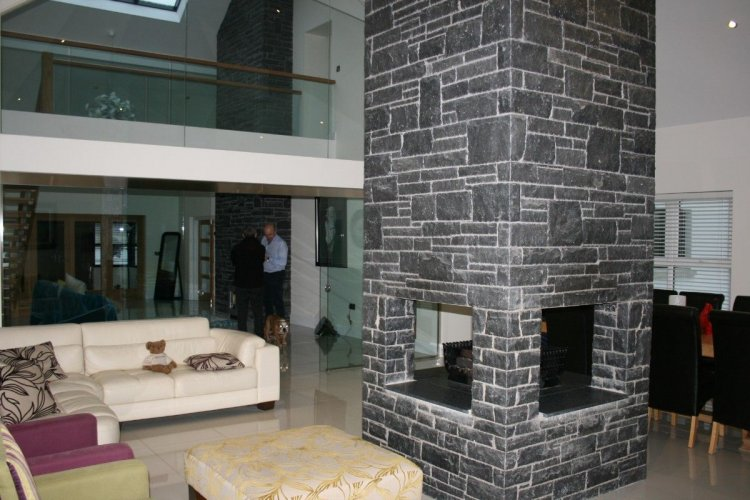 Internal fireplace completed using Blue Limestone Stoneer.