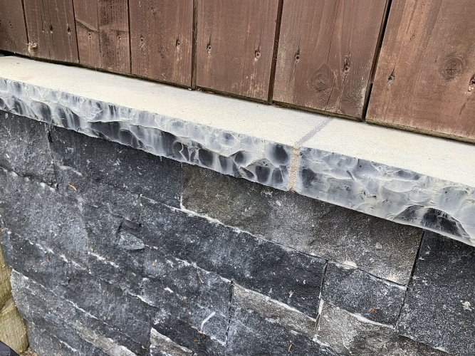 PROTECTiT Colour Restorer Application - Black Limestone Wall Capping Before