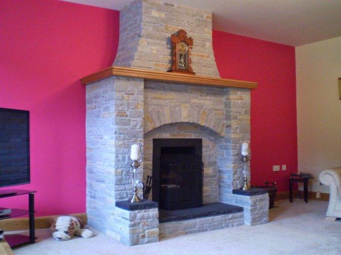Silver Donegal Quartzite Fireplace with a splash of Gold Donegal Quartzite - Machine Block