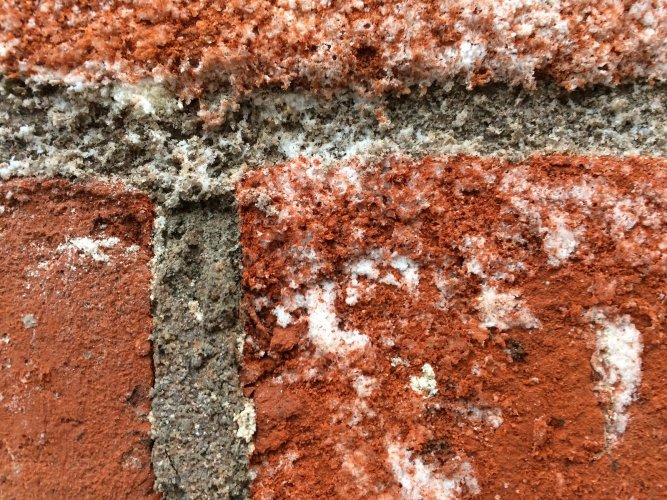 Example of Efflorescence on red brick
