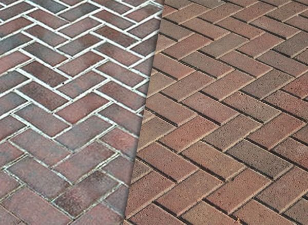 Example of Efflorescence on pavers