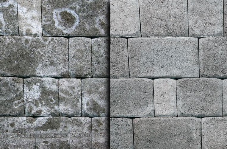 Natural Stone setts stained with Efflorescence