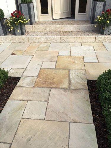 Gold Granite Kerbs Bush Hammered Steps.
