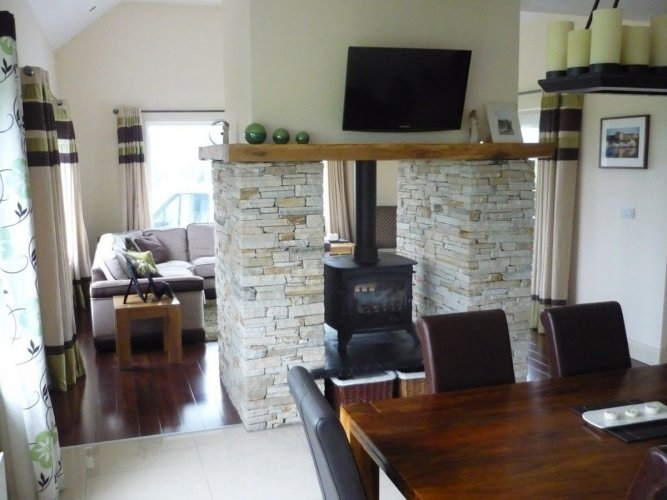 Double Sided Natural Stone Fireplace - Gold Donegal Quartzite Machine Block