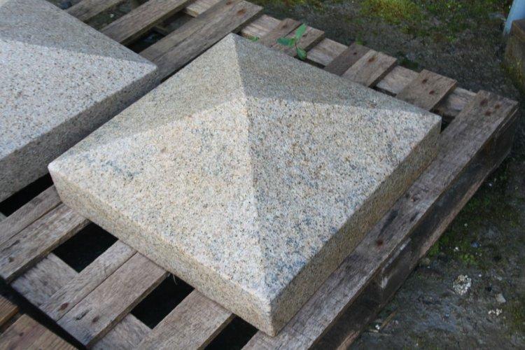 Gold Granite Pillar Cap - Apex Style