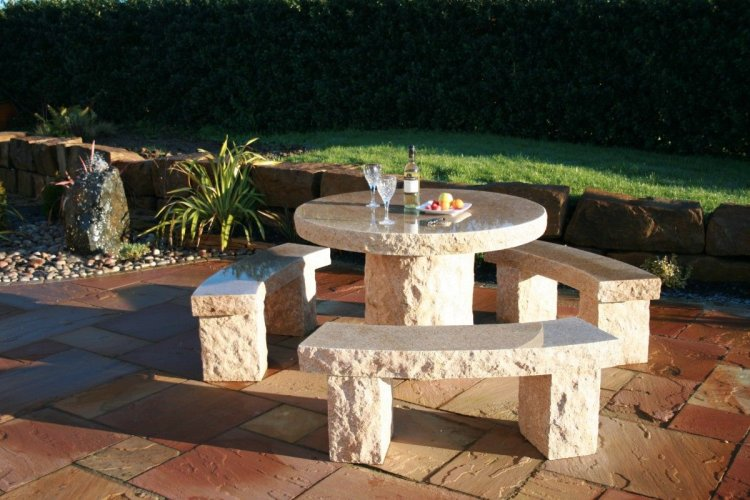 Gold Granite Table & Benches