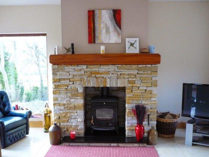 Gold Donegal Quartzite Fireplace  - Machine Block