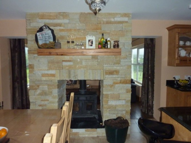 Gold Donegal Quartzite Double Sided Fireplace  - Stoneer Cladding