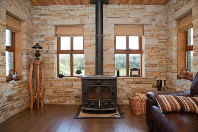 Gold Donegal Quartzite Feature Wall & Fireplace  - Machine Block