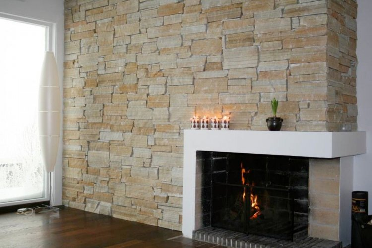 Gold Donegal Quartzite Modern Fireplace and Feature Wall  - Stoneer Cladding