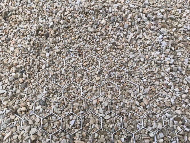Decorative chippings and aggregate stabilisation grid.
