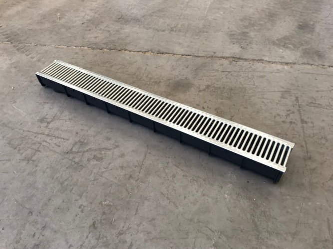 Polypropylene Water Drain with onlay slotted galvanised grating.