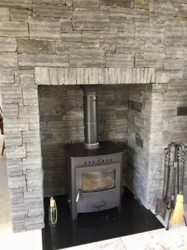 Liscannor Slate Fireplace built using stoneer cladding