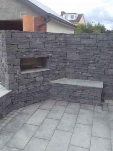 BBQ area built using liscannor slate stoneer