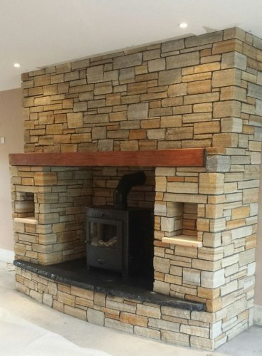 Gold Donegal Quartzite Fireplace - Stoneer Cladding