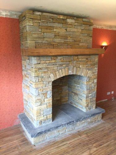 Gold & Silver Donegal Quartzite Fireplace - Machine Block