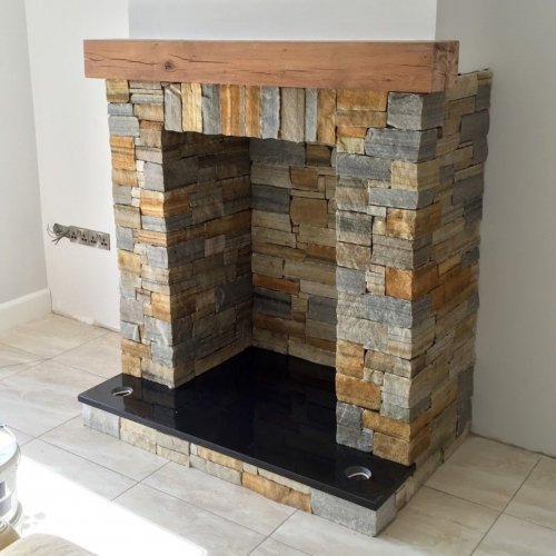 Silver & Gold Donegal Quartzite Fireplace - Stoneer Cladding