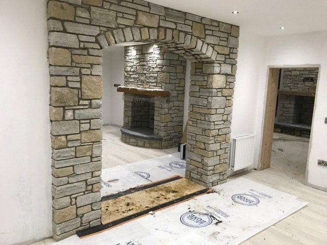 Gold & Silver Donegal Quartzite Fireplace & Feature Wall - Machine Block