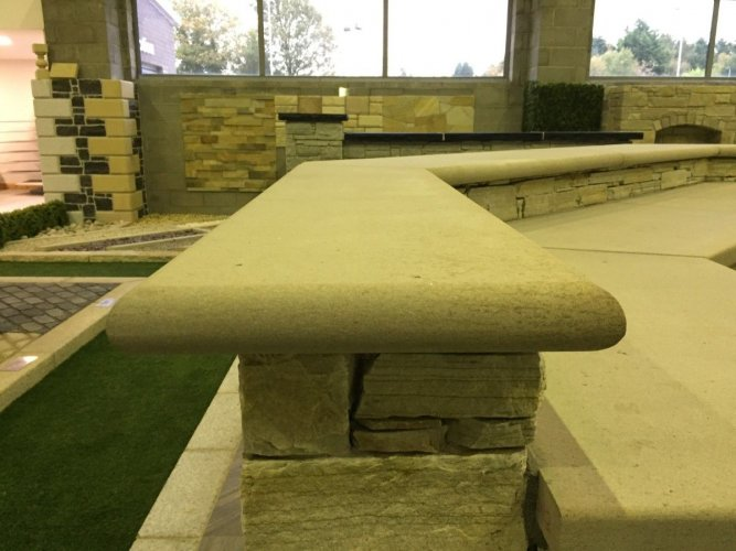 Mountcharles Sandstone Wall Capping with Bullnose - External BBQ Area