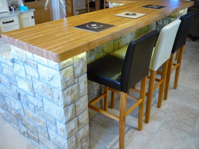 Kitchen Island completed using machined Mountcharles Sandstone.