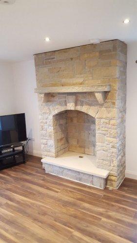 Mountcharles Sandstone Stoneer Fireplace by Tomas Pavlak Stonemasonry