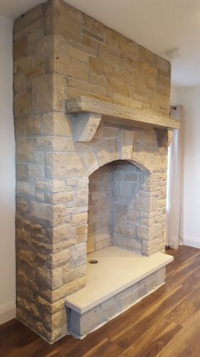 Mountcharles Sandstone Hearth & Mantle by Tomas Pavlak Stonemasonry