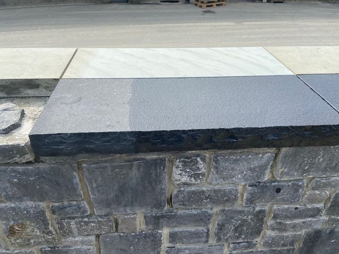PROTECTiT Colour Restorer Application - Black Limestone Wall Capping Half With & Half Without
