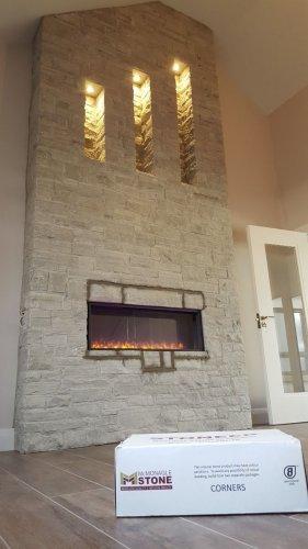 Silver Donegal Quartzite Fireplace by Tomas Pavlak Stonemasonry