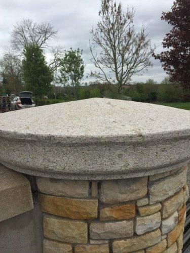 Silver Granite Pillar Cap -  Rounded Apex Style