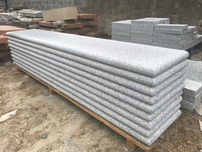 Silver Granite Step Pack Option 3: 2250 x 400 x 50mm with 1 long edge and 1 short edge.