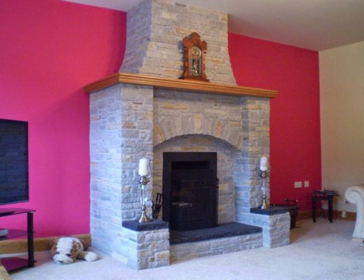 Silver Donegal Quartzite Fireplace