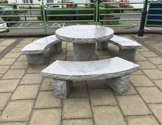 Silver Granite Table & Benches