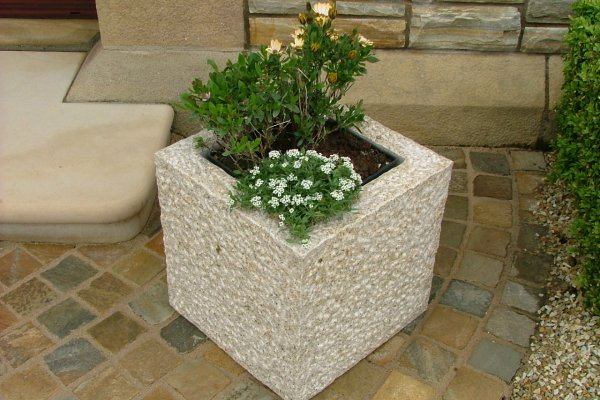 WIN Two Gold Granite Natural Stone Planters