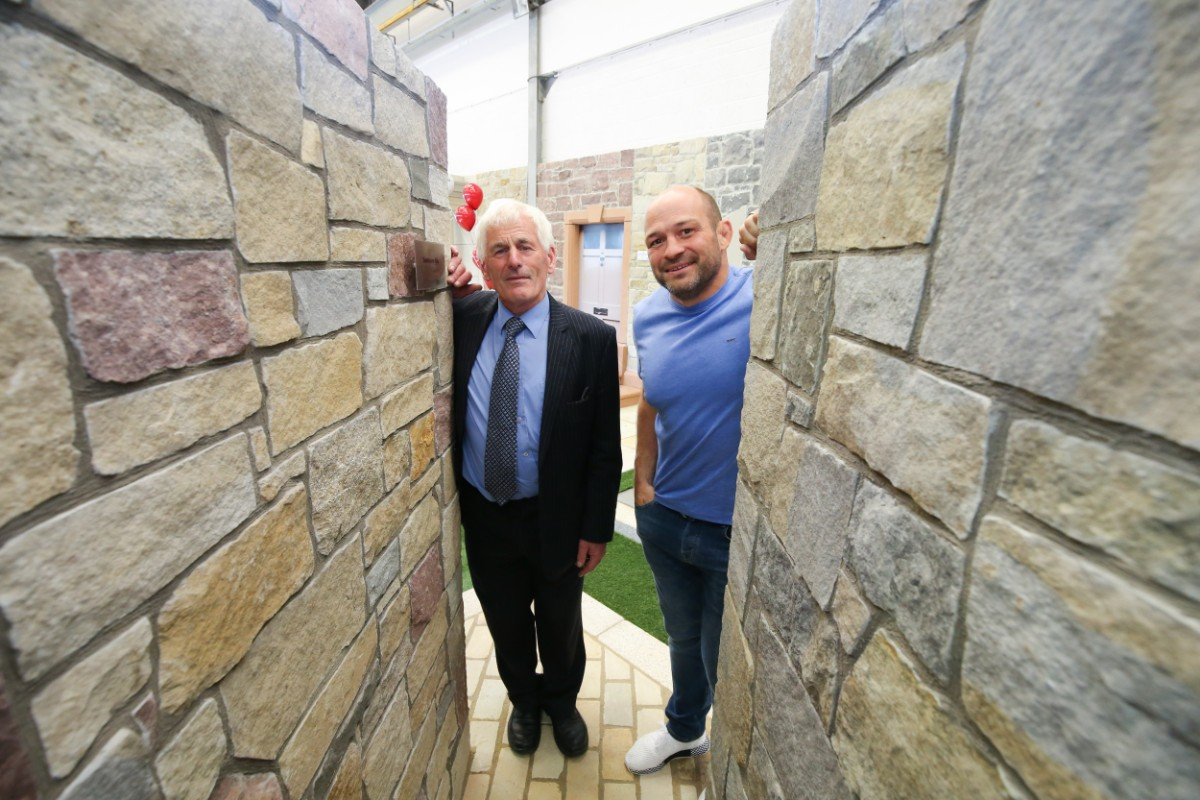 Dan McMonagle and Rory Best pictured at our new interior stoneer cladding displays.